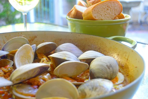 Grilled clams and chorizo