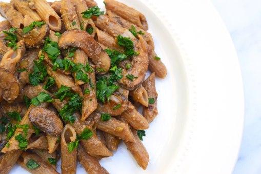 Balsamic Mushroom and Leek Penne Pasta
