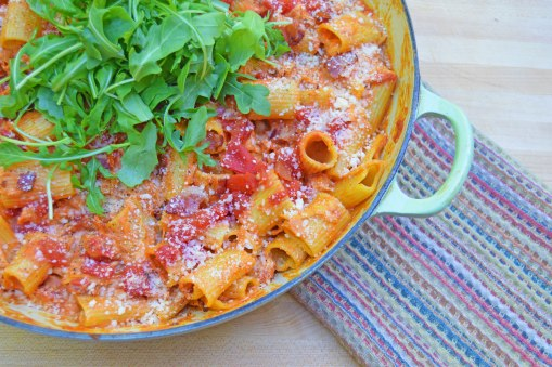 BLT Pasta with Arugula