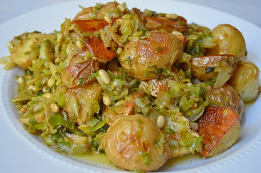 brown butter brussels and potatoes